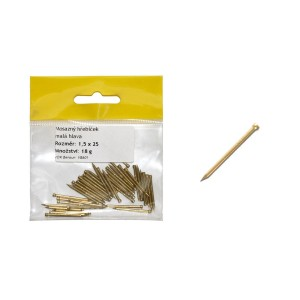 Sáček - mosazný hřebíček, malá hlava  1.2 x 20 mm, VB600