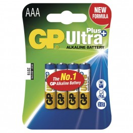 Alkalická baterie, GP Ultra Plus, LR03, AAA, 4ks blistr, B1711, EM-B1711