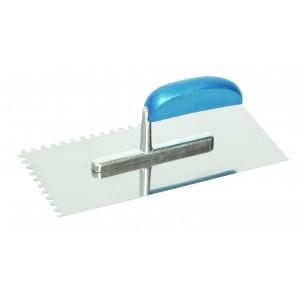 Hladítko nerezové, s hliníkovo/dřevěnou rukojetí, 280 x 130 mm, zub 4 mm, F31101